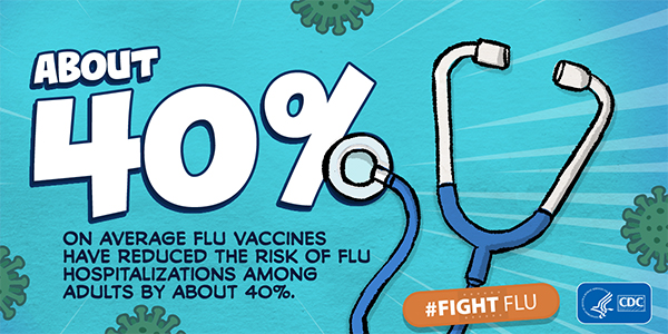 Flu vaccines have reduced the risk of flu hospitalizations among adults by about 40%.