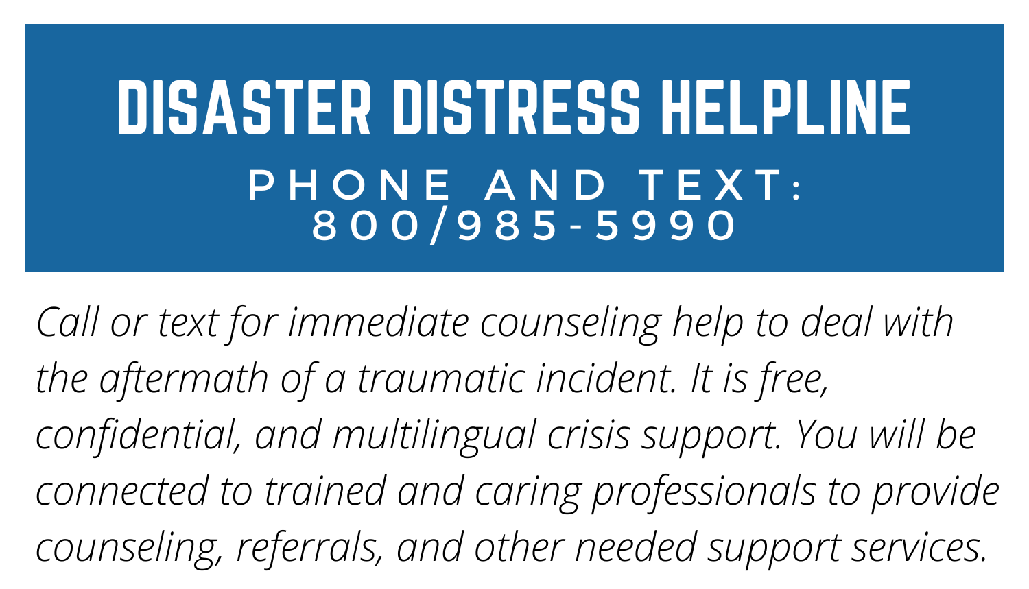 Disaster Helpline phone 8009855990