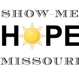 A logo saying Show-Me Hope Missouri, where the O in Hope is a sun.